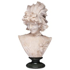 Antique Carved Italian Alabaster Bust Ferdinando Vichi, Firenze