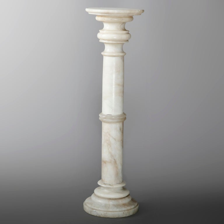 Classical Greek Carved Italian Marble Doric Column Sculpture Display Pedestal, 20th Century For Sale
