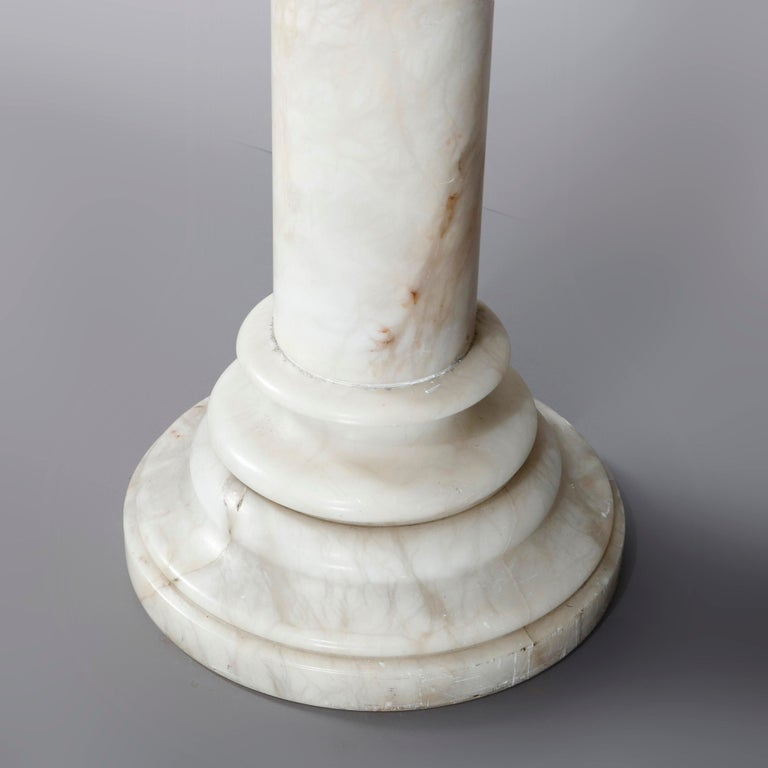 Carved Italian Marble Doric Column Sculpture Display Pedestal, 20th Century In Good Condition For Sale In Big Flats, NY