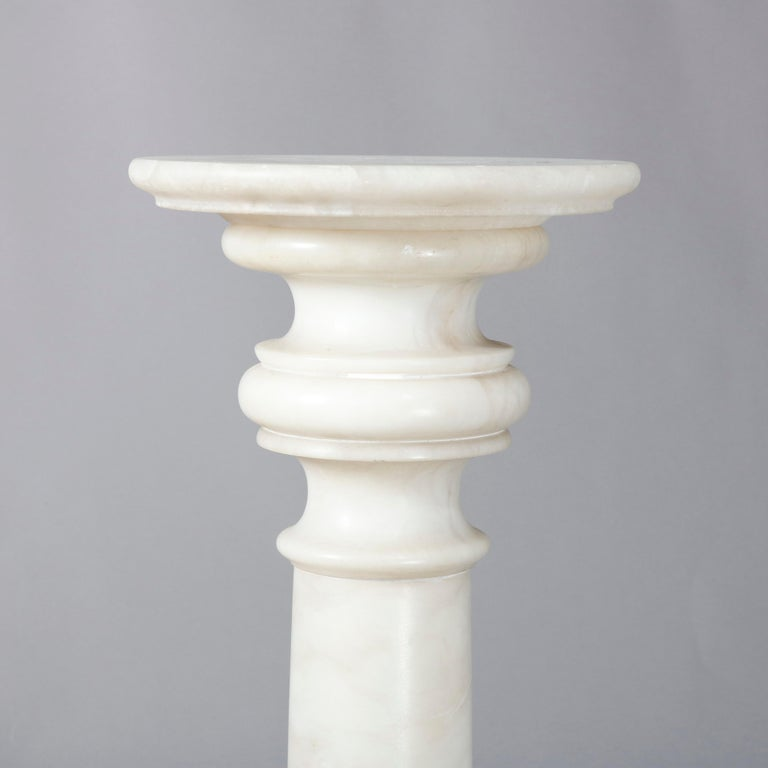 Carved Italian Marble Doric Column Sculpture Display Pedestal, 20th Century For Sale 2