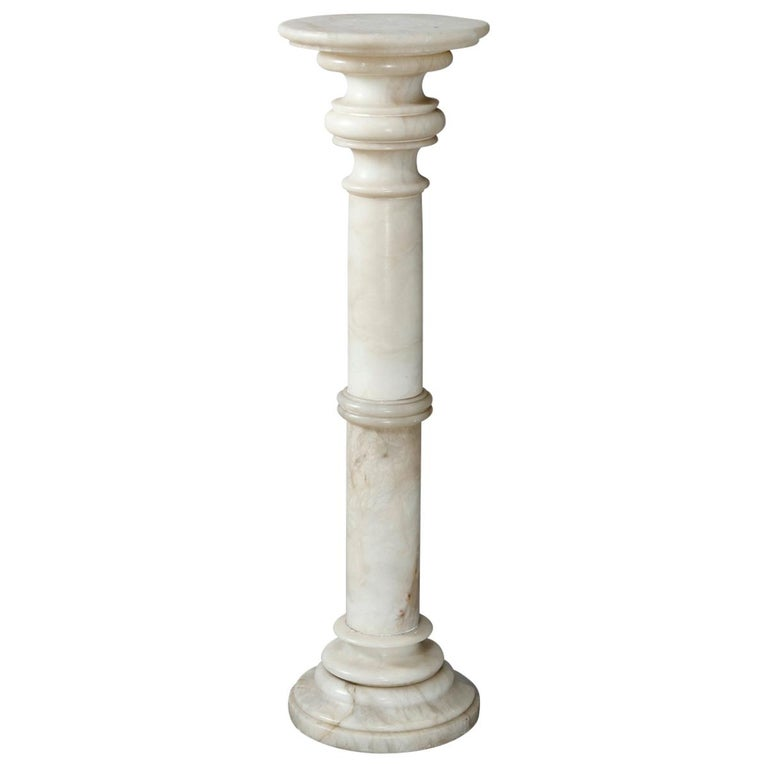 Carved Italian Marble Doric Column Sculpture Display Pedestal, 20th Century For Sale