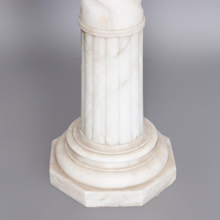 Antique Carved Italian Marble Neo Classical Sculpture Display Stand, circa 1900 In Good Condition For Sale In Big Flats, NY