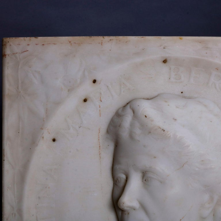 Hand-Carved Carved Italian Marble Portrait Plaque