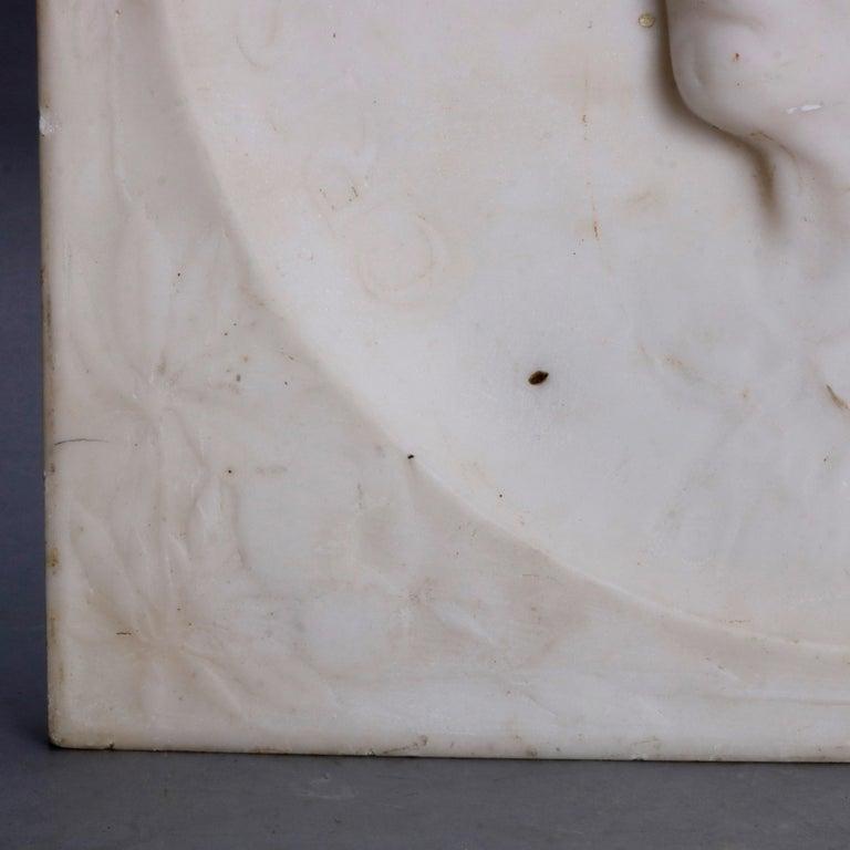 Carved Italian Marble Portrait Plaque