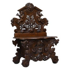 Antique Carved Italian Walnut Renaissance Revival Hall Bench Seat Cherubs Putti