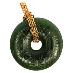 Antique Carved Jade Bi Disc Pendant with Gold Chain