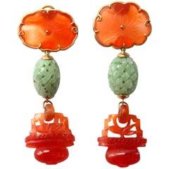 Antique Carved Jade Carnelian 18 Karat Brushed Gold Earrings