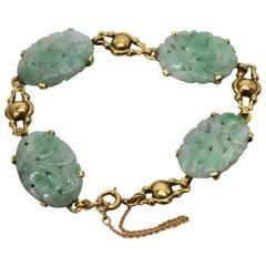 Antique Carved Jade Yellow Gold Link Bracelet