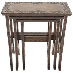 Antique Carved Liberty + Co, Asian Nesting Tables, Solid Wood, Asia 1920, B2289