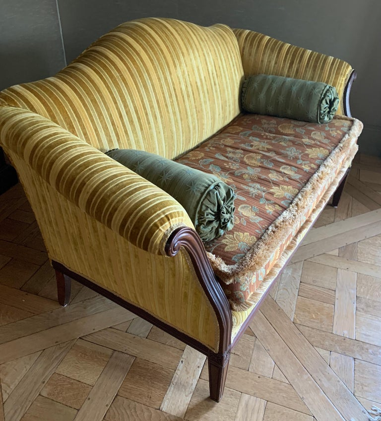 Mid-20th Century Antique Carved Mahogany Camelback Settee Loveseat For Sale