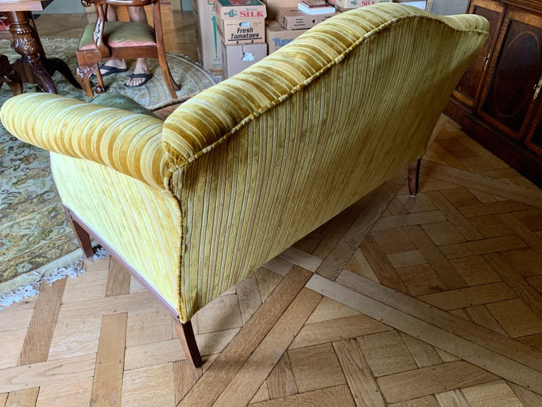 Fabric Antique Carved Mahogany Camelback Settee Loveseat For Sale