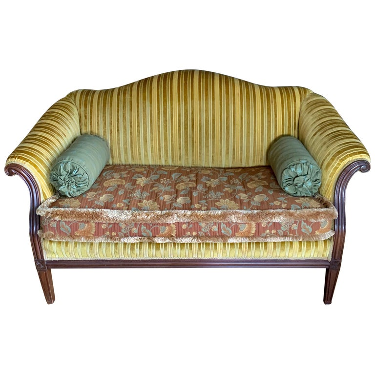 Antique Carved Mahogany Camelback Settee Loveseat For Sale