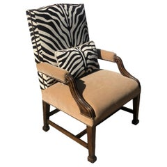 Antique Carved Mahogany Desk Chair, Clarence House Zebra and Mohair