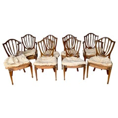 Antique Carved Mahogany Hepplewhite Wheat Shield Back Dining Chairs, circa 1840s