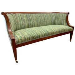 Antique Carved Mahogany Settee Loveseat with New Upholstery