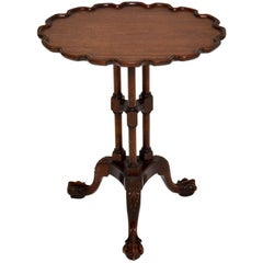 Antique Carved Mahogany Tripod Wine Table