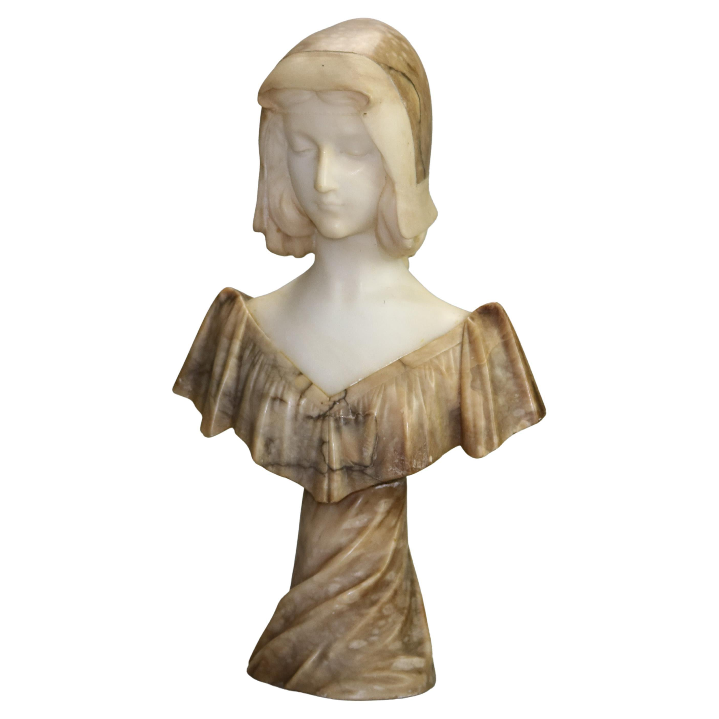Antique Carved Marble & Alabaster Two-Tone Maiden Figure Signed A. Gennai, c1890