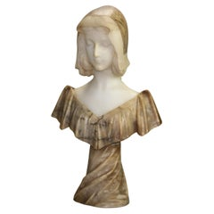 Antique Carved Marble & Alabaster Two-Tone Maiden Figure Signed A. Genna, c1890