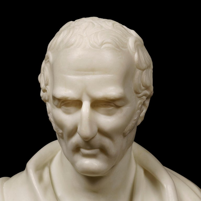A carved white Carrara marble bust of Arthur Wellesley, The 1st Duke of Wellington By Robert Physick.  Signed and dated 1853 to the reverse. Recorded as a 'Sculptor' in the Post Office London Directory of 1851, Robert Physick (1816-1882) was one