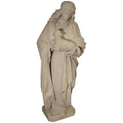 Antique Carved Marble Statue of St. Agnes by Daprato Rigali