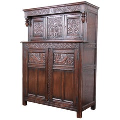 Antique Carved Oak Bar Cabinet by Kensington of New York, circa 1920s