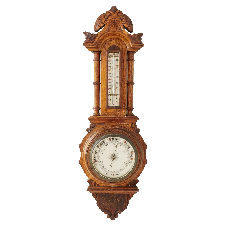 Antique Carved Oak Barometer, Banjo Barometer, Aneroid, Scotland 1890, B2459