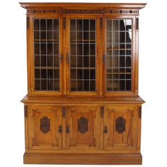 Antique Carved Oak Bookcase, Leaded Glass Display Cabinet, Scotland 1900, B2216