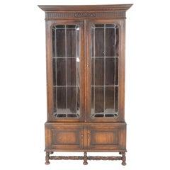 "Antique Carved Oak Bookcase, Leaded Glass Door ""Geo Wilkes"", England 1920, B2365"