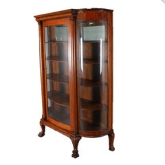 Antique Carved Oak & Curved Glass Mirror Back Paw Foot China Cabinet, circa 1910