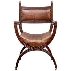 Antique Carved Oak Dante Chair