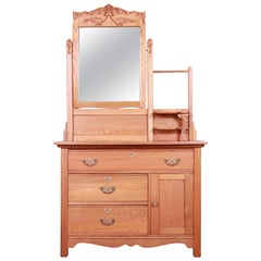 Antique Carved Oak Dresser with Mirror, circa 1900