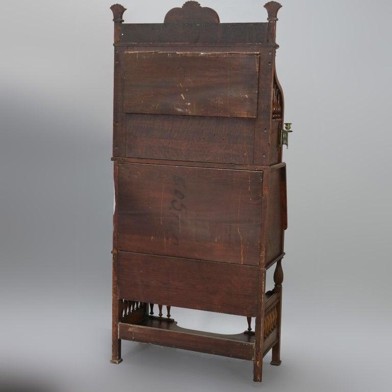 Antique Carved Oak Drop Front RJ Horner School Cowboy Desk, circa 1910 For Sale 3