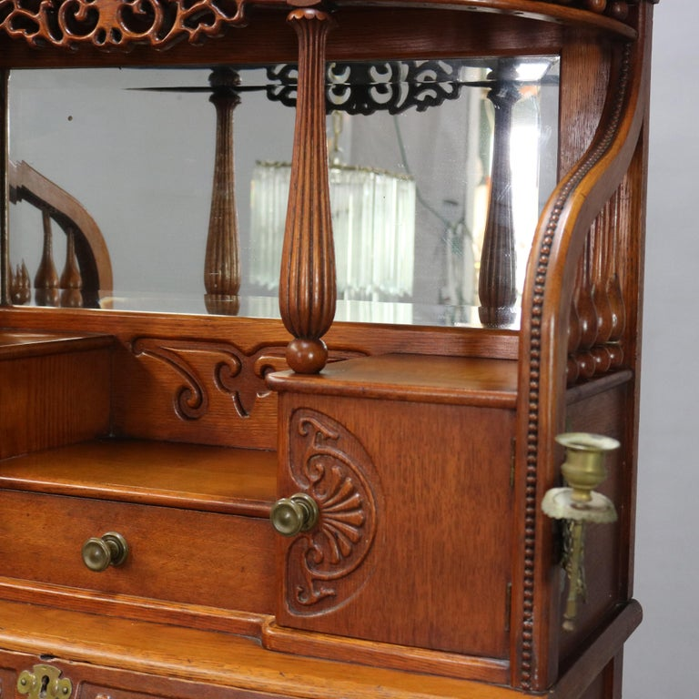 Antique Carved Oak Drop Front RJ Horner School Cowboy Desk, circa 1910 In Good Condition For Sale In Big Flats, NY