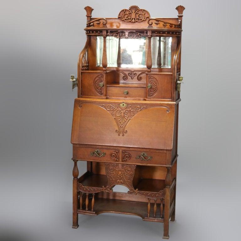 20th Century Antique Carved Oak Drop Front RJ Horner School Cowboy Desk, circa 1910 For Sale