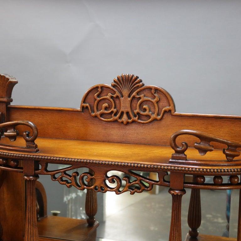 Mirror Antique Carved Oak Drop Front RJ Horner School Cowboy Desk, circa 1910 For Sale