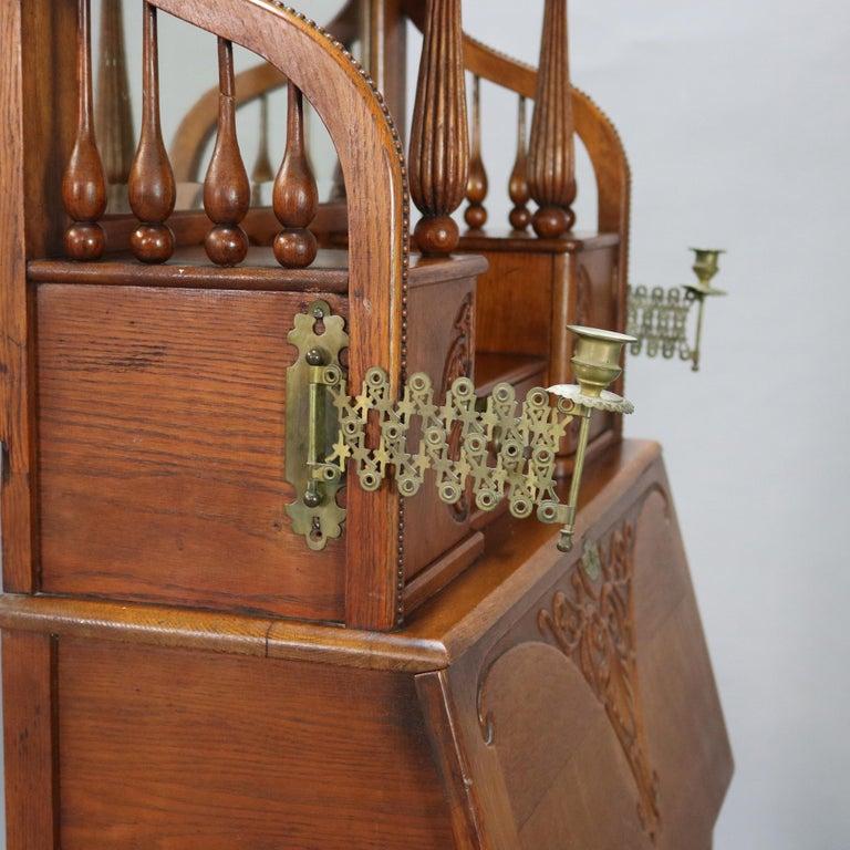 Antique Carved Oak Drop Front RJ Horner School Cowboy Desk, circa 1910 For Sale 1