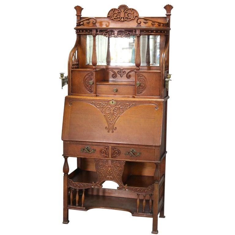 Antique Carved Oak Drop Front RJ Horner School Cowboy Desk, circa 1910 For Sale