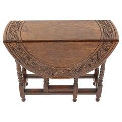 Antique Carved Oak Drop-Leaf, Gateleg Table, Scotland 1910, B2135