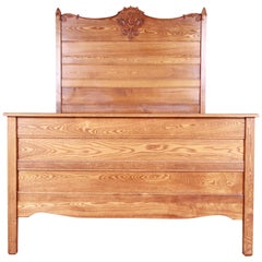 Antique Carved Oak Full Size Bed, circa 1900
