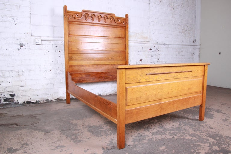 Antique Carved Oak Full Size Bed Frame Circa 1900 For