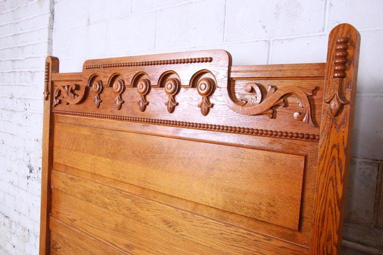 Antique Carved Oak Full Size Bed Frame Circa 1900 For