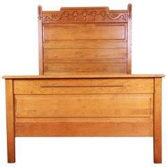 Antique Carved Oak Full Size Bed Frame, circa 1900
