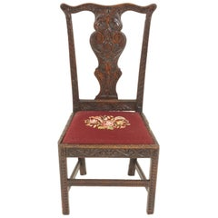 Antique Carved Oak Georgian Hall Chair Upholstered Seat, Scotland 1820, B1247