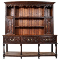 Antique Carved Oak Georgian Welsh Dresser / Cupboard, circa 1820