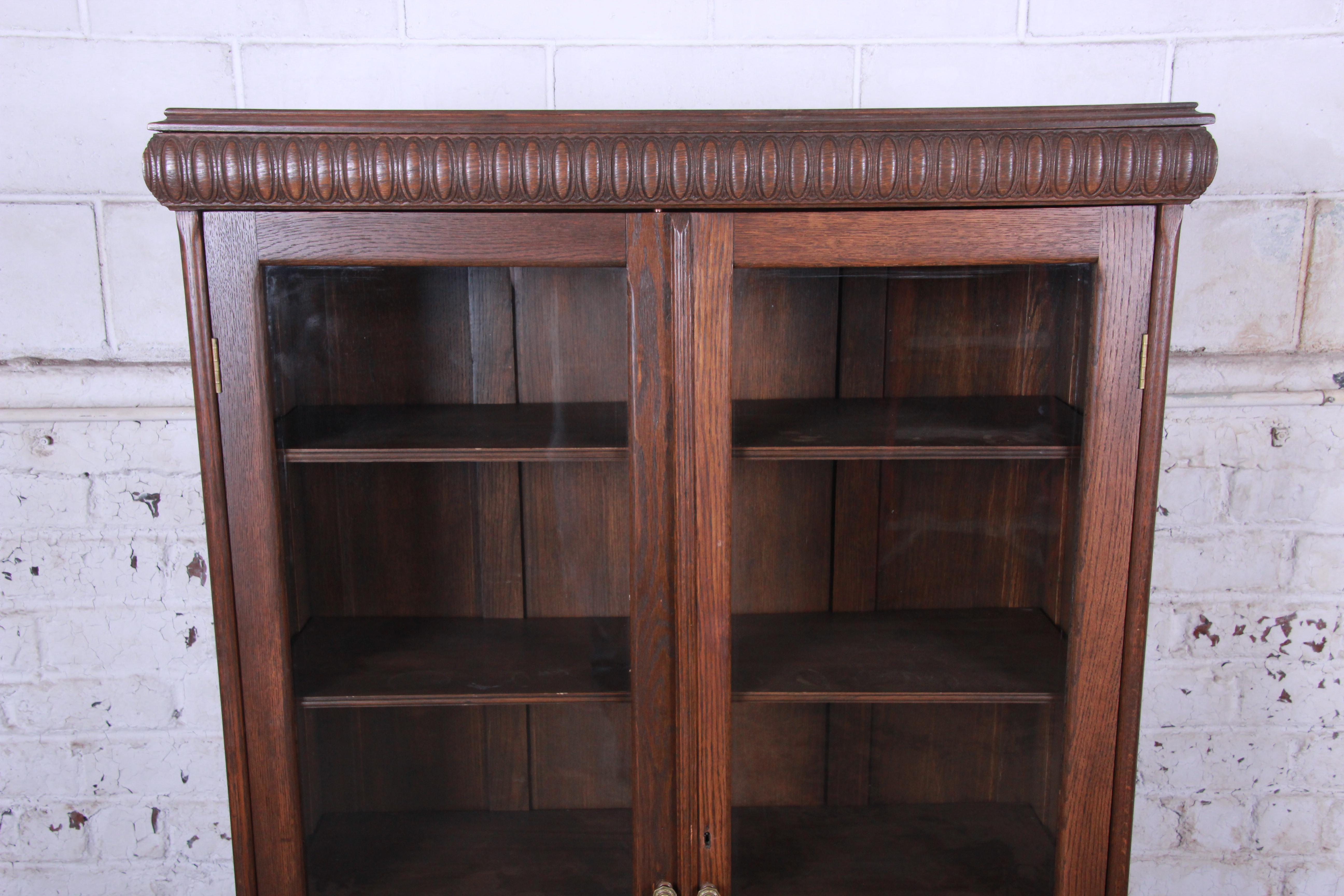 Antique Carved Oak Glass Front Locking Bookcase At 1stdibs