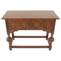 "Antique Carved Oak Hall Table, Bulbous Legs, ""Wylie + Lochhead"" Glasgow, 1920s"