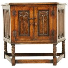 Antique Carved Oak Jacobean Style Table, Cabinet, Cupboard, Scotland 1900, B2441