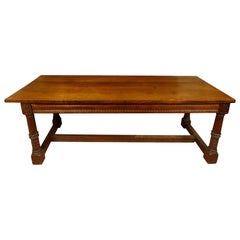 Antique Carved Oak Library Table