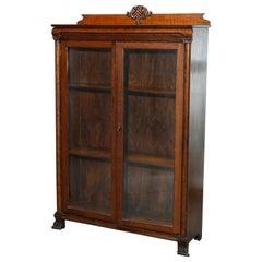 Antique Carved Oak Locking Double Door Bookcase, Circa 1910