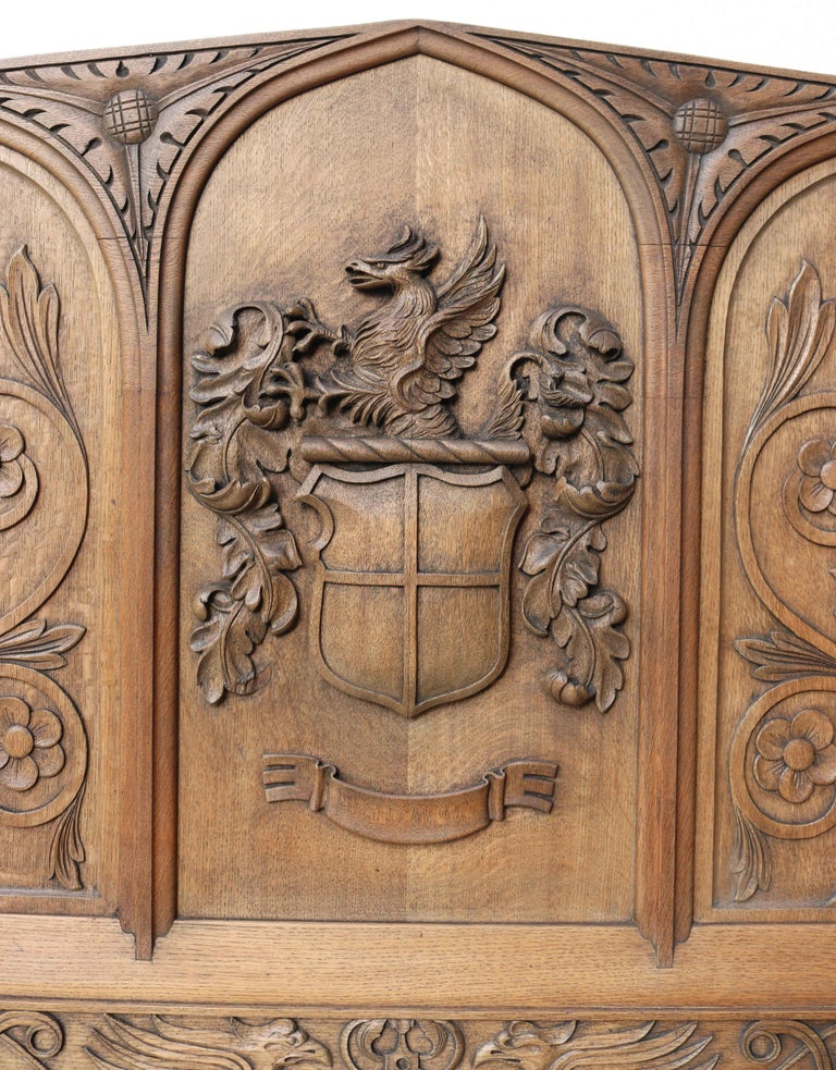English  Antique Carved Oak Over-Mantle or Headboard For Sale